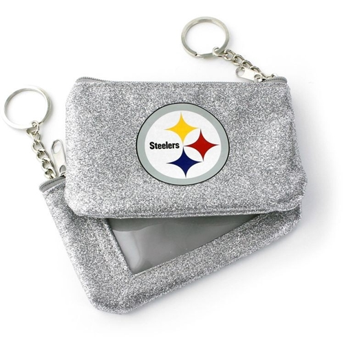 Pittsburgh Steelers NFL Silver Sparkle Coin Purse Key Ring *NEW*