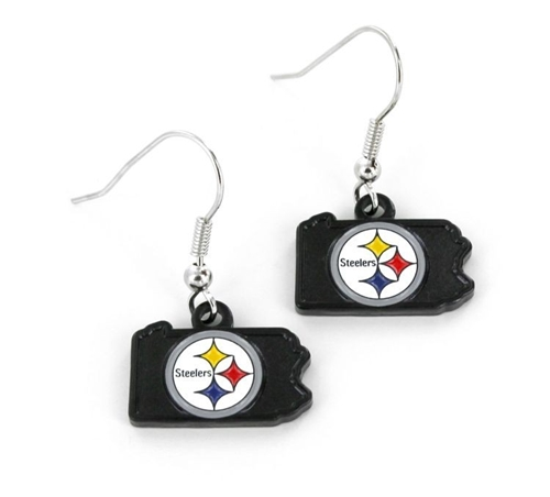 Pittsburgh Steelers State Design NFL Dangle Earrings *NEW*