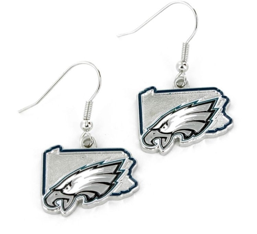 Philadelphia Eagles State Design NFL Dangle Earrings *NEW*