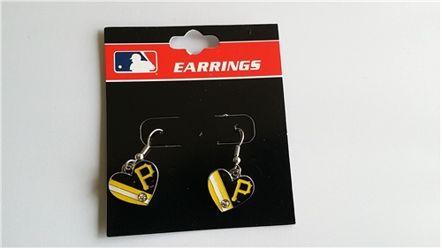 Pittsburgh Pirates MLB Heart Flag with Rhinestone Silver Dangle Earrings