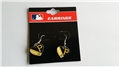 Pittsburgh Pirates MLB Heart Flag with Rhinestone Silver Dangle Earrings - One Dozen