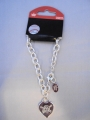 "Pittsburgh Pirates MLB Heart Tag Silver Charm 8"" Bracelet *CLOSEOUT*"