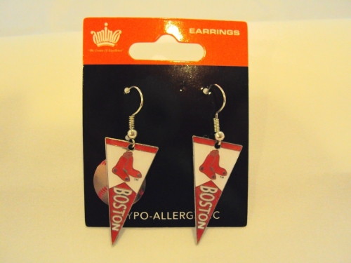 Boston RED SOX MLB Team Pennant Silver Dangle Earrings *CLOSEOUT*