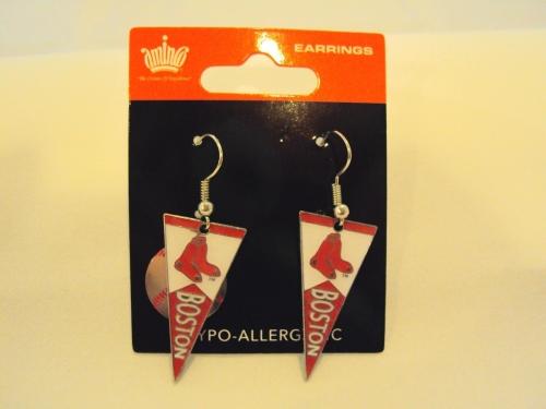Boston RED SOX MLB Team Pennant Silver Dangle Earrings