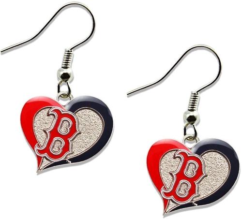 Boston RED SOX MLB Silver Swirl Heart Dangle Earrings