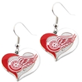 Detroit Red Wings NHL Silver Swirl Heart Dangle Earrings *SALE*