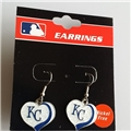 Kansas City Royals MLB Silver Glitter Heart Dangle Earrings *CLOSEOUT*