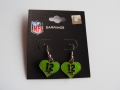 Seattle Seahawks 12th Man Green Heart NFL Silver Dangle Earrings