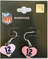 Seattle Seahawks 12th Man Pink Heart NFL Silver Dangle Earrings