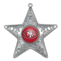 San Francisco 49ers NFL Silver Star Ornament 6ct Box *CLOSEOUT*