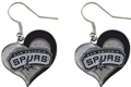 San Antonio Spurs NBA Silver Swirl Heart Dangle Earrings