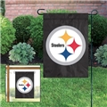 "Pittsburgh Steelers NFL 15""x10.5"" Black Embroidered 1-Sided Garden Flag"