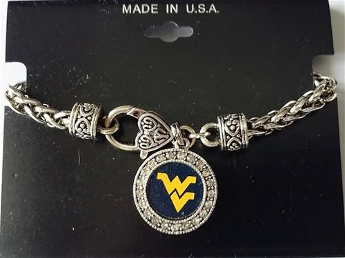 West Virginia Mountaineers NCAA Round Crystal Pewter 7.5'' Bracelet *NEW*
