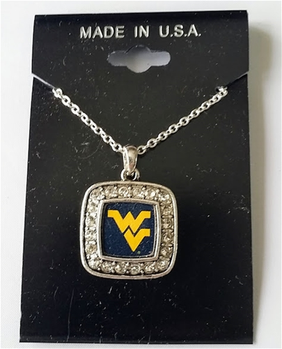 West Virginia Mountaineers NCAA Square Crystal Pewter 18'' Necklace *NEW*