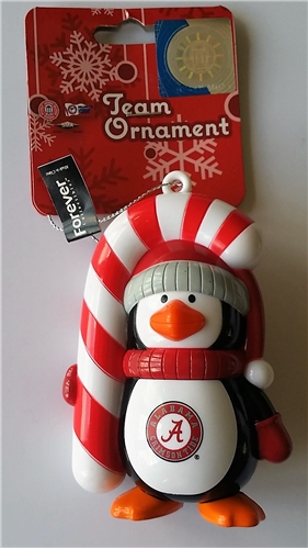 Alabama Crimson Tide NCAA Big Penguin with Candy Cane Ornament *SALE*