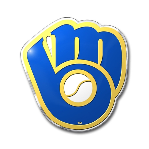 Milwaukee Brewers MLB Die Cut Aluminum Color Car Emblem *CLOSEOUT* - 3 Count Lot