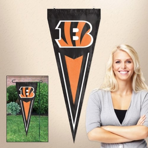 "Cincinnati Benglas NFL 34"" x 14"" Embroidered 1-Sided Yard & Wall Pennant Flag **CLOSEOUT**"