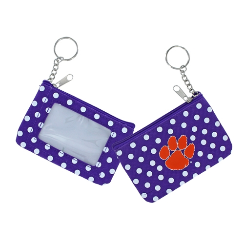 Clemson Tigers NCAA Nylon Coin Purse Key Ring