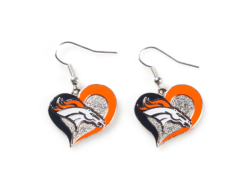 Denver Broncos NFL Silver Swirl Heart Dangle Earrings