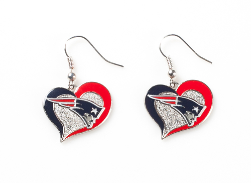 New England Patriots NFL Silver Swirl Heart Dangle Earrings
