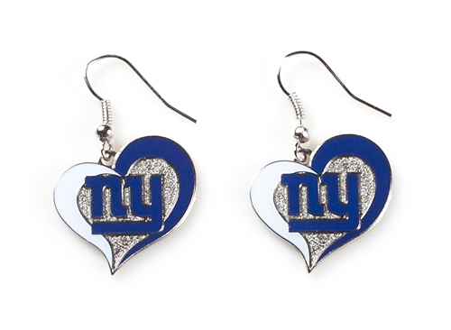 New York Giants NFL Silver Swirl Heart Dangle Earrings