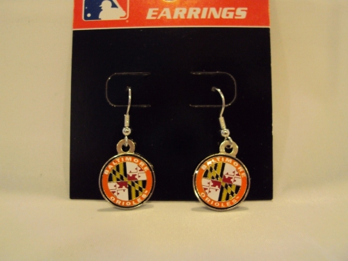Baltimore Orioles Crest MLB Round Silver Dangle Earrings - One Dozen