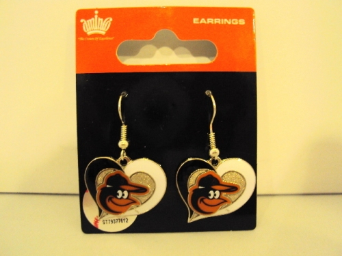 Baltimore Orioles MLB Silver Swirl Heart Dangle Earrings