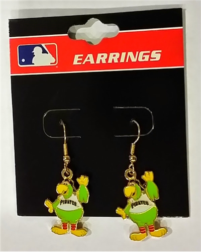 Pittsburgh Pirates Pirate Parrot Mascot MLB Gold Dangle Earrings