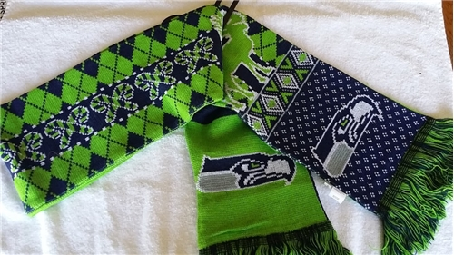 "Seattle Seahawks Reversible Reindeer Ugly NFL 60"" Team Knit Scarf *NEW*"