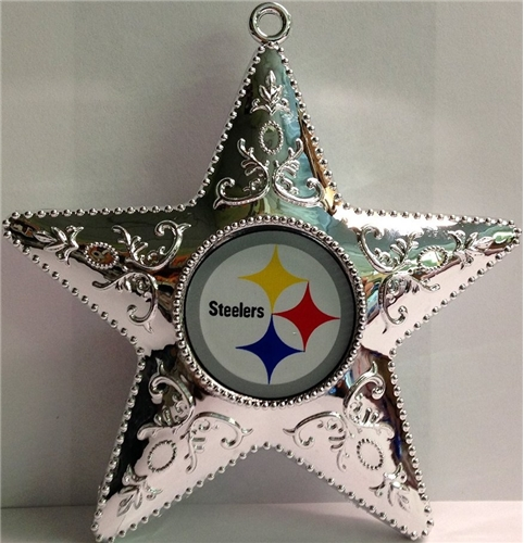 Pittsburgh Steelers NFL Silver Star Ornament 6ct Box