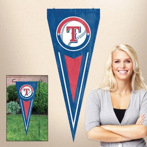 "Texas Rangers MLB 34"" x 14"" Embroidered 1-Sided Yard & Wall Pennant Flag"