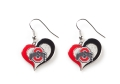 Ohio State Buckeyes NCAA Silver Swirl Heart Dangle Earrings