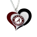 Alabama Crimoson Tide Swirl Heart NCAA Silver Pendant Necklace