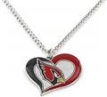 Arizona Cardinals Swirl Heart NFL Silver Team Pendant Necklace *SALE*