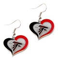 Atlanta Falcons NFL Silver Swirl Heart Dangle Earrings
