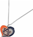 Auburn Tigers Swirl Heart NCAA Silver Pendant Necklace *SALE*