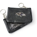 Baltimore Ravens NFL Black Sparkle Coin Purse Key Ring *NEW*