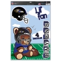 "Baltimore Ravens Lil' Fan NFL Teddy Bear 11"" x 17"" Multi Use Decal *CLOSEOUT*"