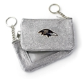 Baltimore Ravens NFL Silver Sparkle Coin Purse Key Ring *NEW*