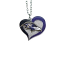 Baltimore Ravens Swirl Heart NFL Silver Team Pendant Necklace