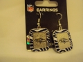 Baltimore Ravens NFL Team Color Zebra Stripes Silver Dangle Earrings