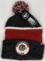 Chicago Blackhawks NHL Black Holcomb Knit Cuff Cap w/ Pom *NEW*