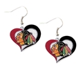 Chicago Blackhawks NHL Silver Swirl Heart Dangle Earrings