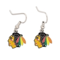 Chicago Blackhawks NHL Silver Dangle Earrings