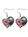 Columbus Blue Jackets NHL Silver Swirl Heart Dangle Earrings