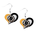 Boston Bruins NHL Silver Swirl Heart Dangle Earrings