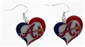 Atlanta Braves MLB Swirl Heart Dangle Earrings