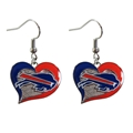Buffalo Bills NFL Silver Swirl Heart Dangle Earrings