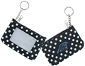 Carolina Panthers Logo NFL Nylon Polka Dot Coin Purse Key Ring