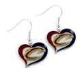 Cleveland Cavaliers NBA Silver Swirl Heart Dangle Earrings *CLOSEOUT*